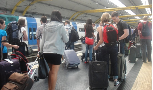 Passengers waiting at FCO Airport for Leonardo Express Train