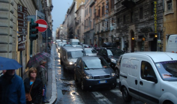 Rainy Day in Rome with Traffic