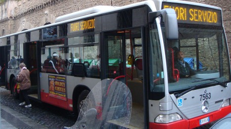 Bus Ride in Rome on A Rainy Day